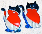 Recycled Soda Can Art-  Small  Kitty  Cat Pair