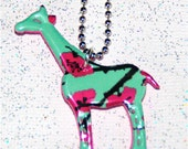 Long Neck----Recycled Soda Can Art- --SMALL Giraffe Charm Necklace