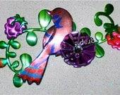 Recycled Soda Can Art - LARGE Multi Dimensional Bird on a Branch Rhinestone Center---magnet
