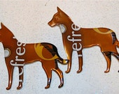 Set of Two----Recycled Soda can Art-  Puppy Dog  Pair-- Magnet or Tags