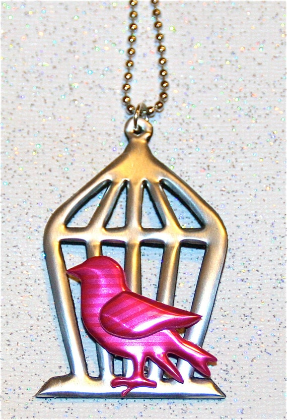 Recycled Soda Can Art-Miniature Bird  and Cage Necklace