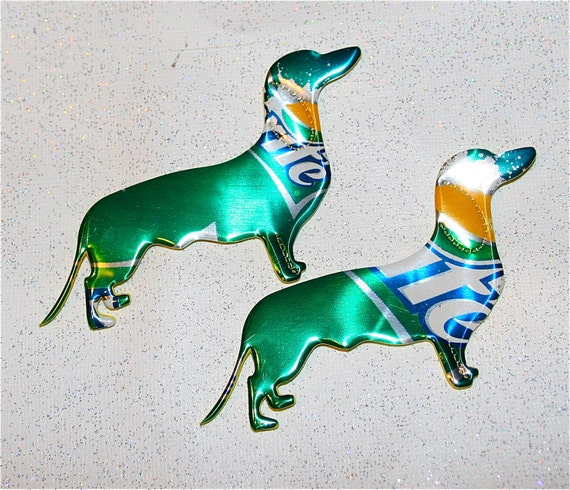 Set of Two----Recycled Soda can Art- Dachshund Puppy Dog  Pair-- Magnet or Tags
