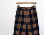 1980's Pendleton Camel and Navy Plaid Wool Shorts