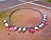 Large Rolo Sterling Silver Chain with Pink Swarovski Crystals and Pink Coral Beads