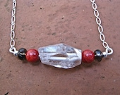 Raw Crystal Quartz Focal Bead Mixed with Coral and Smokey Quartz  Beads Accented with a Sterling Silver Beads Chain & Closure