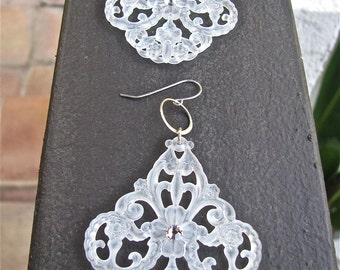 German Frosted Filigree Earrings Accented with Swarovski Crystals and Finished with Sterling Silver Hoops and Ear Wire