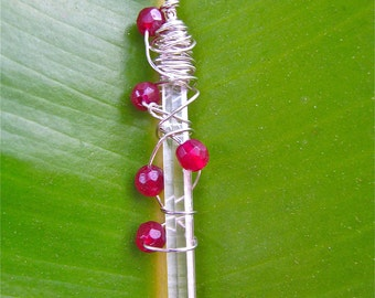SALE!! Raw Crystal Icicle Raspberry Jade Wire Wrapped in Sterling Silver and Strung on a Sterling Silver Chain