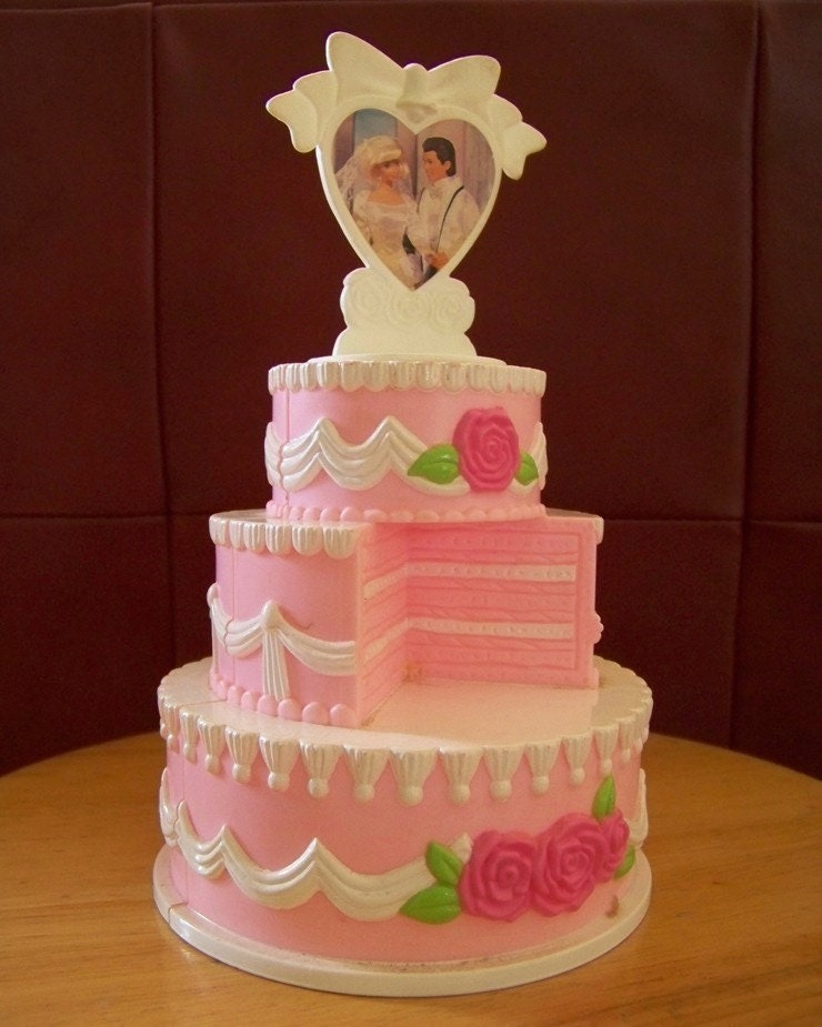 1980s Barbie And Ken Pink Wedding Cake Rare