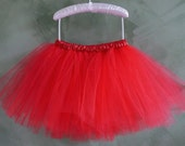 Red Classic Tutu with Satin Waist-Giggly Cheerupper-Custom Made to order-Sizes 0-6 years old