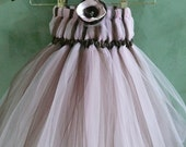 Chocholate & Pink-Flower Girl Tulle Dress-Sizes 6mo-5T-Custom made to order
