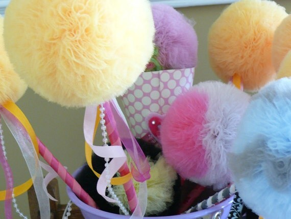 Yellow Cotton Candy Tulle Puff  Magic Wand-Unique Birthday Girl Present