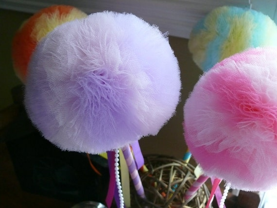 Tulle Puff  Magic Wands-Flower Girl Accessory-Party Pack of 5 -Mix and Match Your Colors