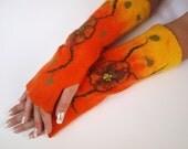 Fingerless gloves, orange flower, hand felted, very warm, sensitive