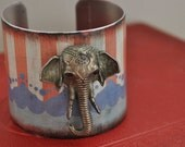 3D Elephant Head Vintage Style Circus Cuff Bracelet 2 inches wide