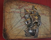 Vintage Inspired Old World Map with Large Pirate Ship Belt Buckle