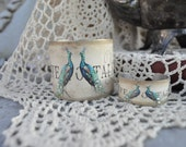 Beautiful French Inspired Peacocks and Bling Mommie and Me Cuff Set