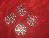 Wholesale  Lot  Of  Four 25MM  Silver Tone  Seven Pointed Fairy Star  Heptagram Pendants