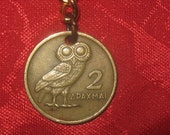 Wholesale Lot of 6 Authentic Vintage Greece Athena Owl  Phoenix Coin Keychains