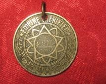 Authentic Antique  Vintage Gold Tone Morocco Coin Sun Pendant Necklace