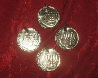 Wholesale Lot Of 4  Israeli Menora 10 Arogot Coin Pendants