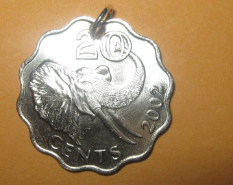 Rare Authentic Africa African Swaziland Elephant Coin Pendant Necklace