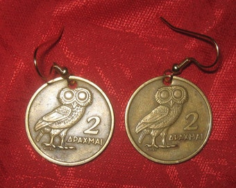 Authentic Vintage Antique Greece Owl  Phoenix Coin Dangle Earrings