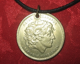 Authentic  Vintage  Greece Greek  Alexander The  Great Coin  Pendant Necklace