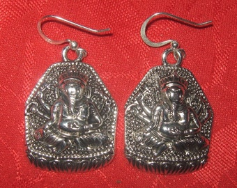 Unusual  Pair Of  Detailed India Hindu Ganesh Earrings