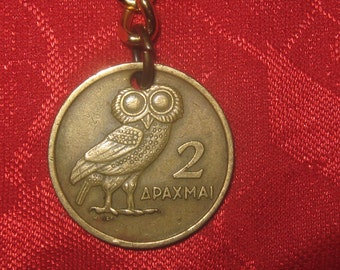 Authentic Vintage Greece Greek Athena Owl  Phoenix Coin Keychain
