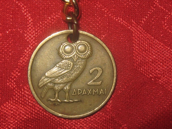 Authentic Vintage Greece Athena Owl  Phoenix Coin Keychain