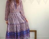 Indian Peacock Cotton Festival Folk Dress Size S/M