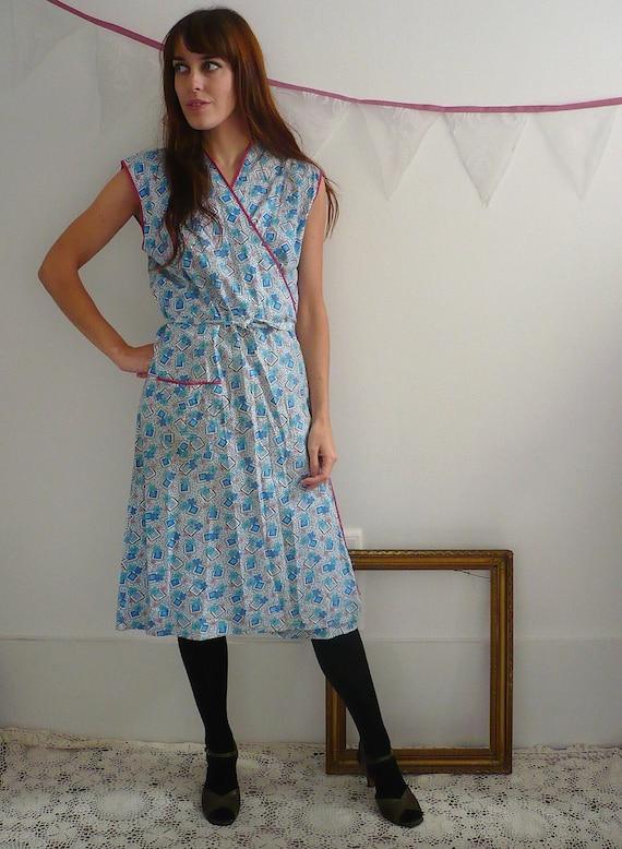 1950's Cotton Floral Wrapover House Dress Size M/L