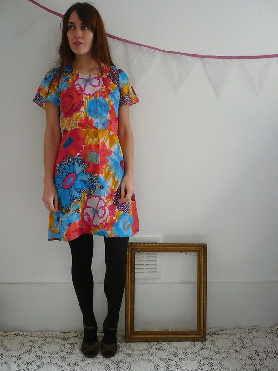 1970's Bright Print Mini Dress Size XS