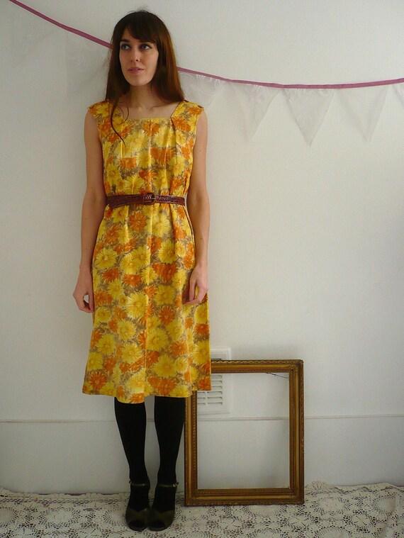 1960's Homemade Sunflowers Dress Size S/M