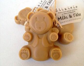 Milk and Honey Natural Cold Process Kids Soap-Bear shape-based on Greek Olive Oil