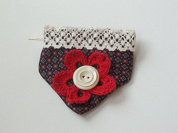 Vintage silk tie brooch ships free US - Navy with red and white print, cream lace, cream vintage button, red crochet flower.
