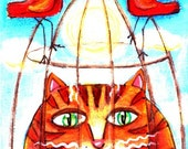 ACEO Original Cat in a Bird Cage Folk Art  Artwork  Painting Portrait