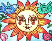ACEO Original Flower Birds Painting Folk Art Primitive Artwork Sunflower Portrait