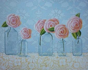 Antique Bottles Still Life Original Painting Roses Flowers