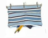 Binder Pencil Case Blue and Brown Striped Organizer Case for 3 Ring Binder Blue Stripe Back to School  Ready to Ship School Supplies Gift