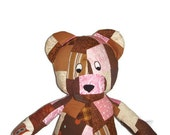 Patchwork BEAR Stuffed Animal Toy - Chocolate Brown with a touch of Pink  - Baby Shower - Ready to Ship