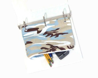 Binder Pencil Case Blue Camouflage Pencil Pouch for 3 Ring Binder with Zipper School Supplies Organize Back To School Kids Gift