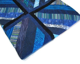 Quilt - Contemporary Geometric in Blues  - Unique - Ready to Ship