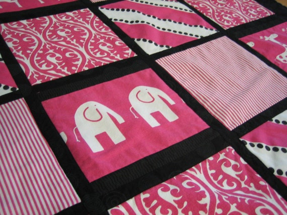 Quilt - Contemporary  - Pink and Black - Elephants, Giraffes, and Stripes - Ready to Ship