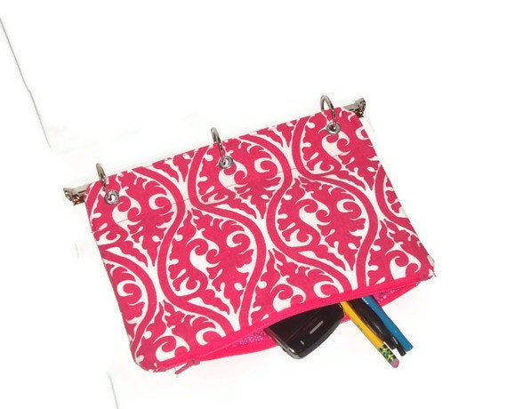binder pencil case hot pink for 3 ring binder with zipper