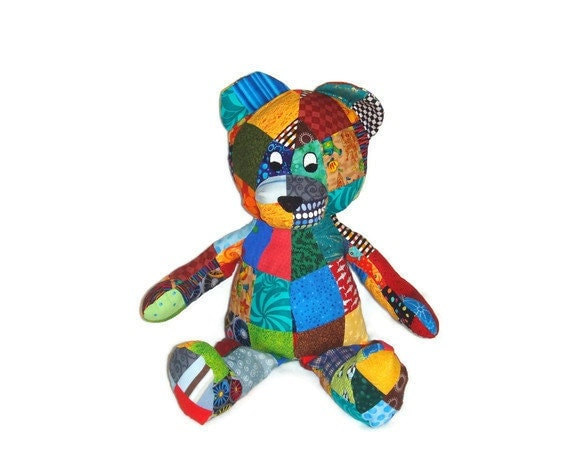 Patchwork Bear Stuffed Animal Toy - Perfect for Boy or Girl - Ready to Ship