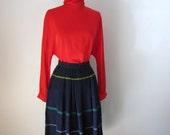 Rustic Stripe Wool Midi Skirt (XS/Small)