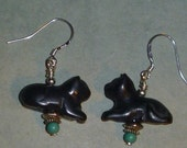 Carved black cat earrings with turquoise beads