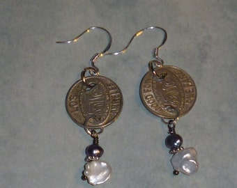 Los angeles L.A. vintage transportation token earrings with  pearls