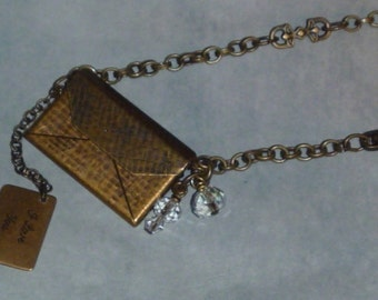 Love note in envelope antiqued brass necklace